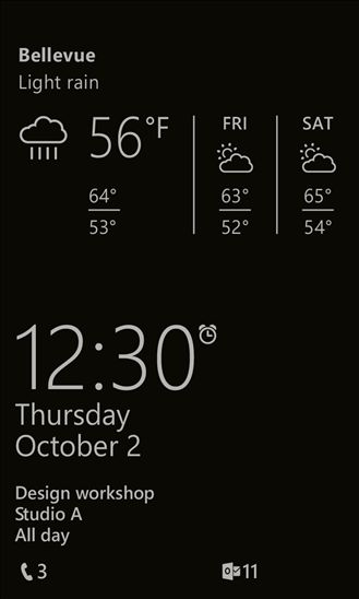 Updated Glance screen shows Weather and Fitness information