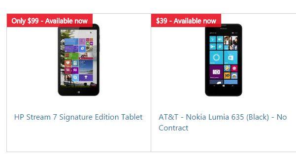 HP and LUmia 635 deals at Microsoft Store
