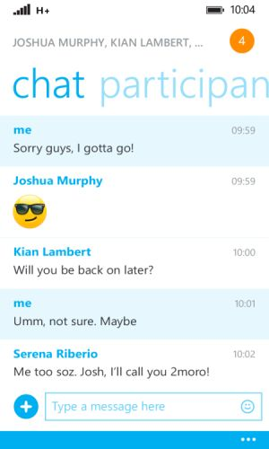 Skype v 2.25 chat window emoticons