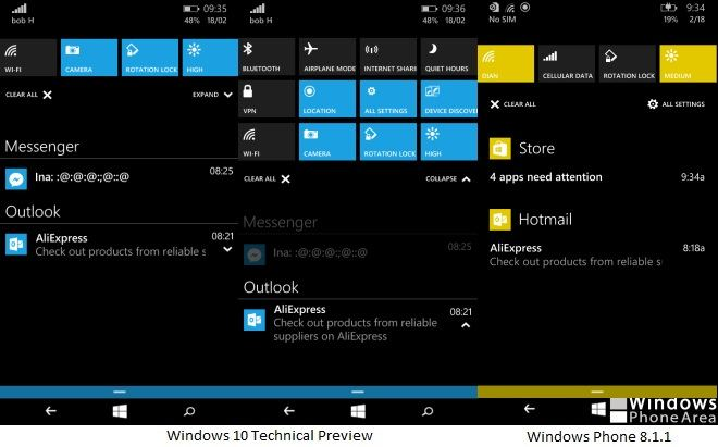 Windows 10 Technical Preview for Phones Action Center