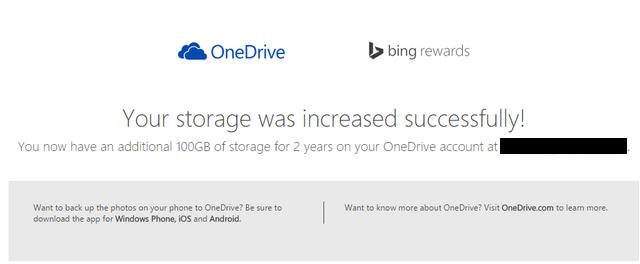 Bing Rewards 100gb free OneDrive