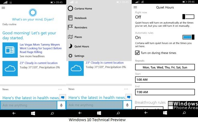 Windows 10 Technical Preview Cortana phones