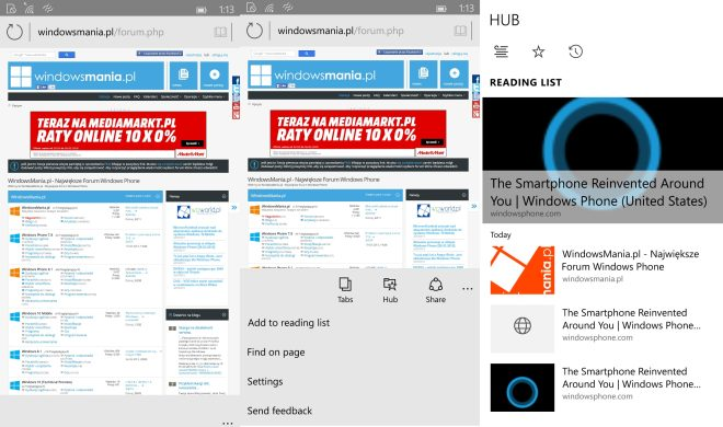 Spartan browser web for Windos 10 Phones