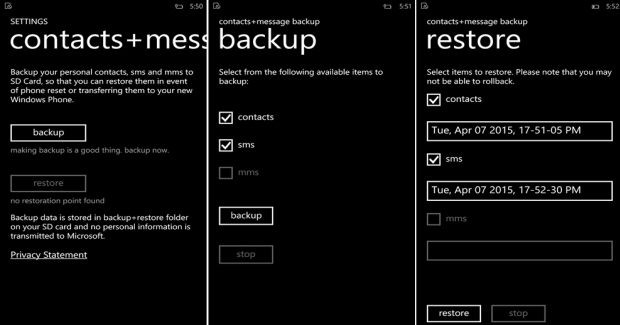 Contacts and Messages backup app sd card
