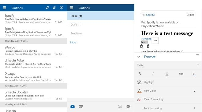 Outlook Mail client for Windows 10