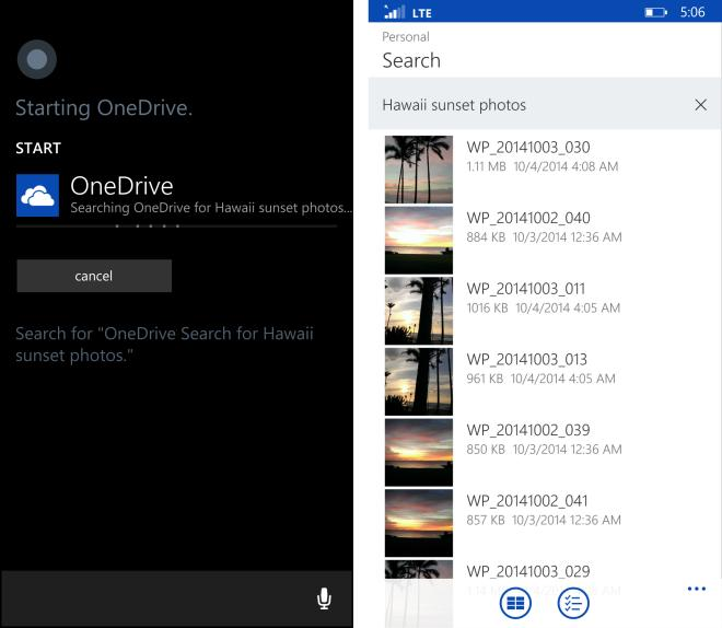 Cortana voice search OneDrive