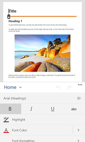 word for windows 10 mobile