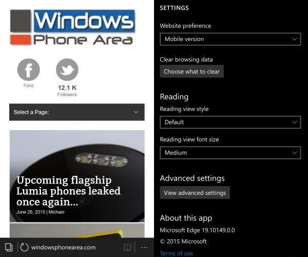 10149 Windows 10 Mobile build edge browser