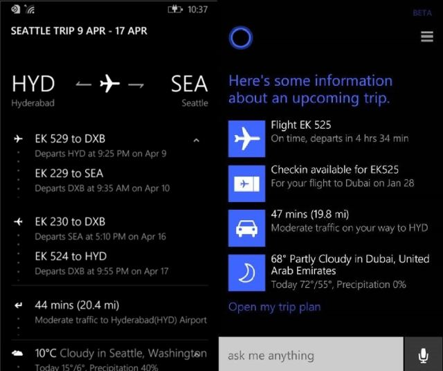 cortana flight planning