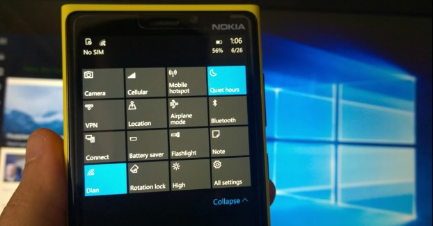 action center windows 10 mobile