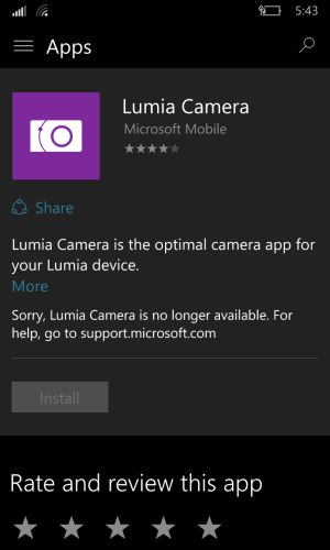 Lumia Camera not available