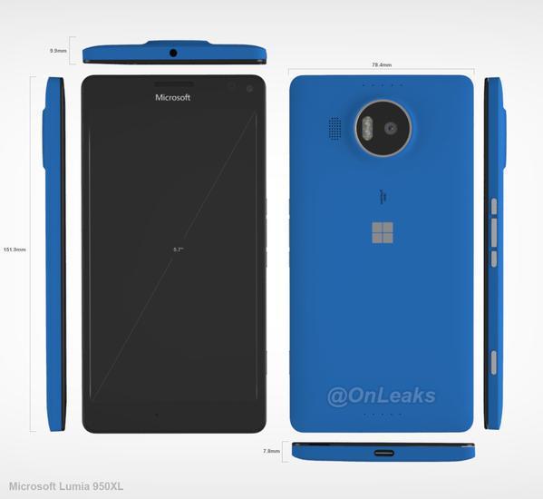 Lumia 950 XL size