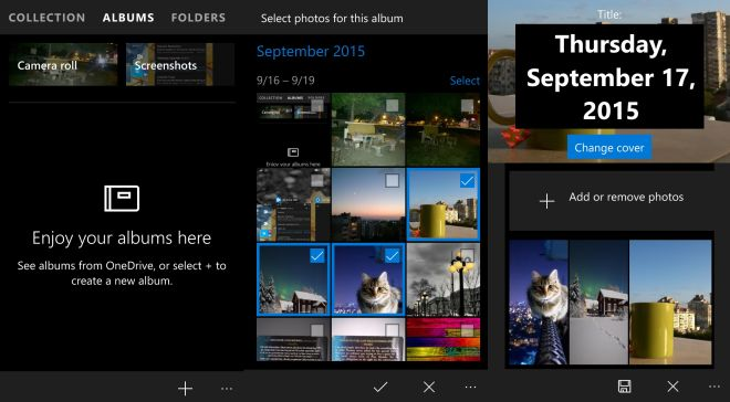 how to create a new album in photos windows 10