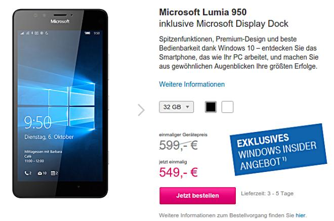 T-Mobile Lumia 950 offer December 2015