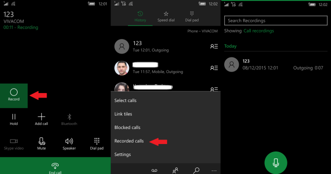 Call recors access your recorded calls WIndows 10 mobile