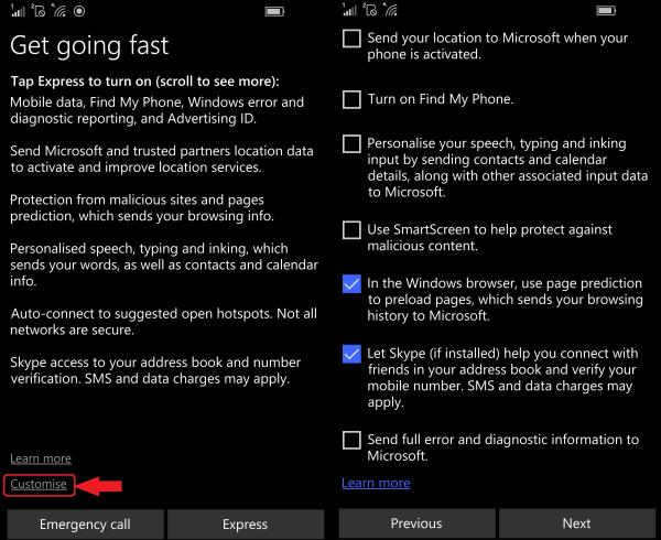 Activation Customise settings windows 10 mobile phone