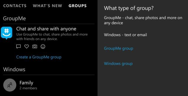 People app Windows 10 Mobile integration with GroupMe