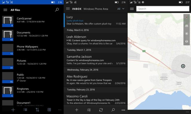 WIndows 10 Mobile start screen onedrive maps