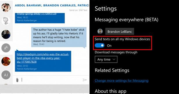 Send and receive text messages from your phone directly from your Windows 10 PCs