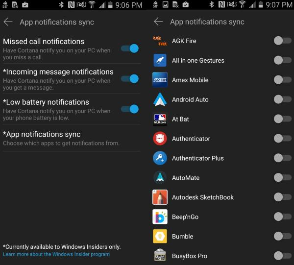 Cortana settings Android
