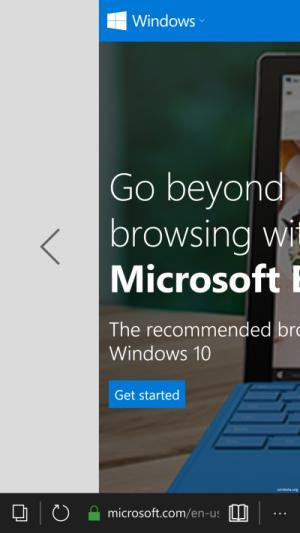 Microsoft Edge swipe navigation windows 10