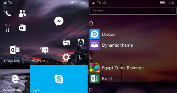 Windows 10 Mobile start screen live tiles