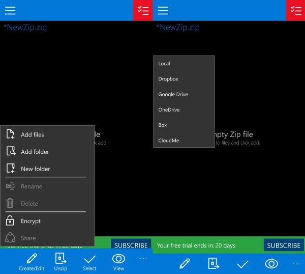 Windows 10 Mobile WinZip app Universal