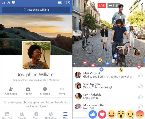 Facebook Beta windows 10 mobile