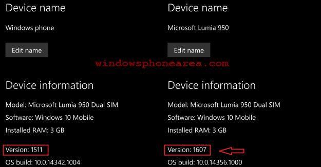 version 1607 windows 10 mobile