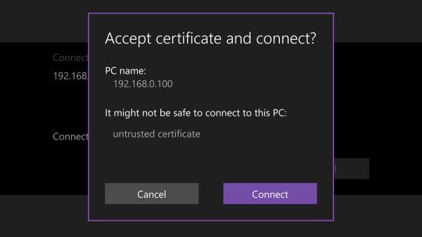 accept certificate remote desktop
