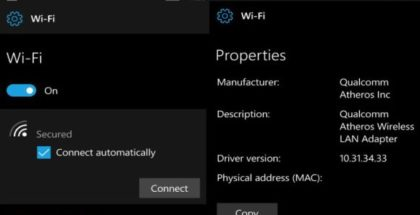WiFi settings Redstone 2