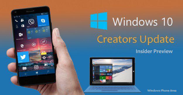 Windows Insider Preview Redstone 2 Creators update