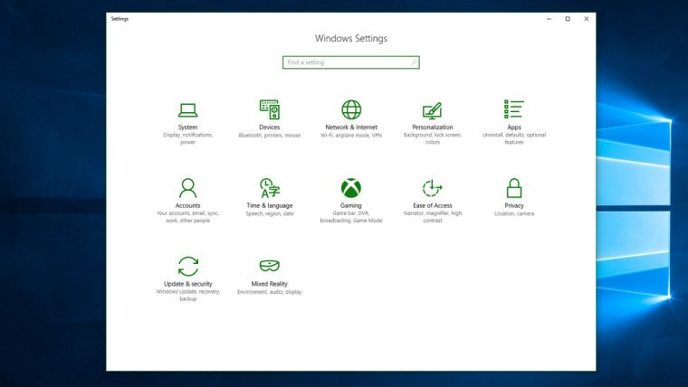 Settings gaming Windows 10 PC