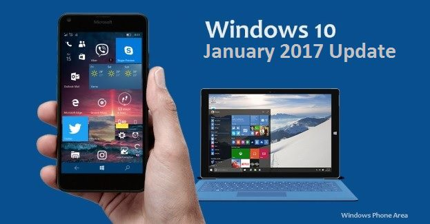 January 2017 cumulative update released for Windows 10 devices