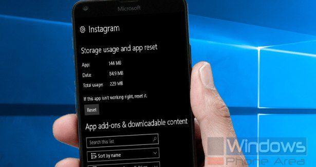 Instagram UWP reset app Windows 10