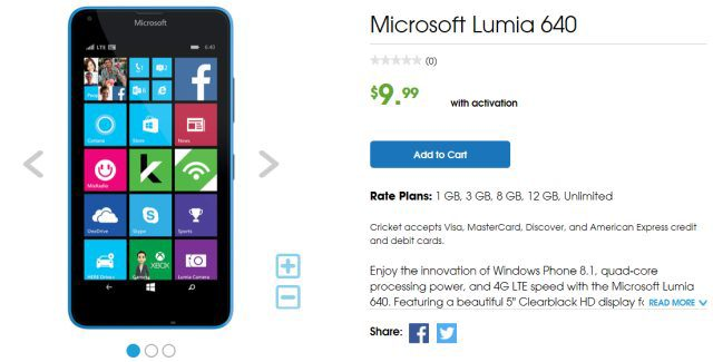 Clearance: Lumia 640 from Cricket Wireless for $10