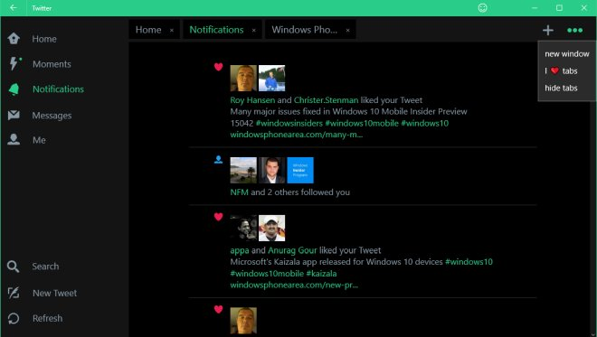 Twitter adds Tabs to its Windows 10 app