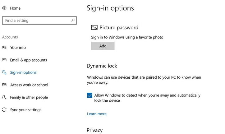 Dynamic Lock sign-in