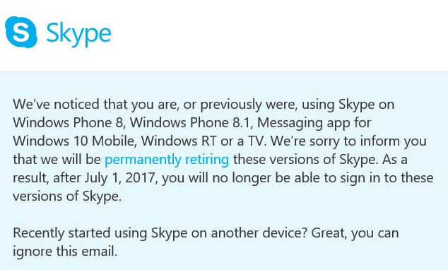 The old Skype app is shutting down for Windows phones from July 2017