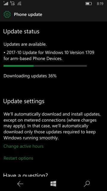 Update 1709 Windows 10 Mobile
