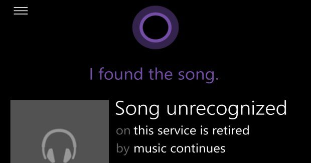Cortana's song recognition feature has been retired