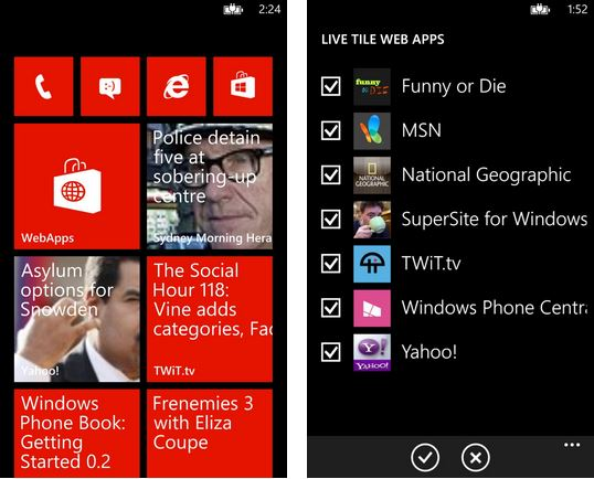 WebApps updated, supports Live Tiles, wide tiles and voice search