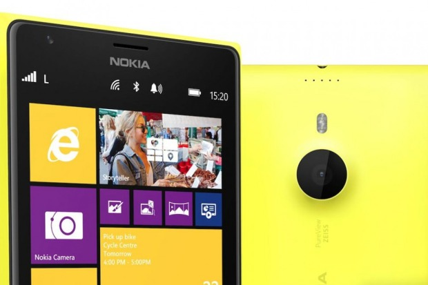 Yellow Nokia Lumia 1520 close picture