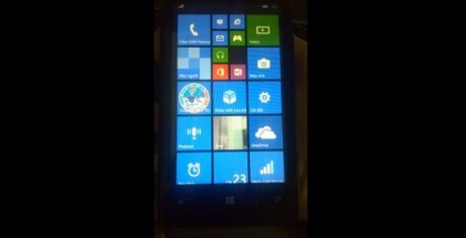 Nokia Lumia 520 running Windows Phone 8.1 with three column medium tiles