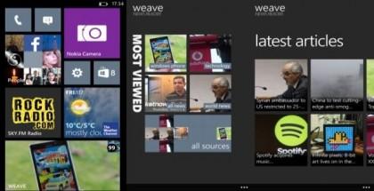 weave news reader for windows phone 8 tiles, home screen