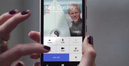 Skype for Windows Phone 8.1 screen
