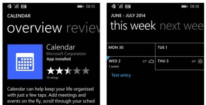 Calendar App for Windows Phone 8.1