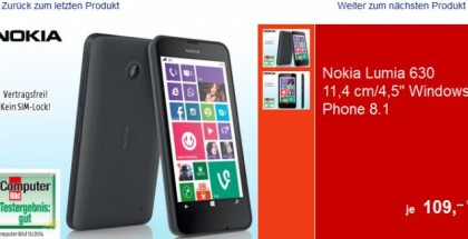 Aldi Germany is offering Nokia Lumia 630 for 109 EUR