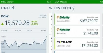 MSN money app for Windows phone