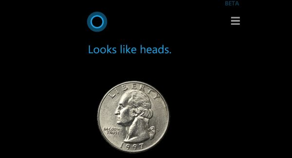 cortana flipping a coin